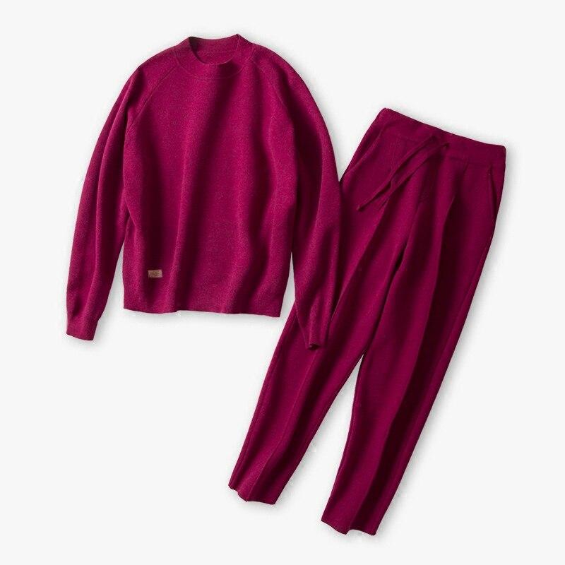 cashmere cotton wool blend thick knit women fashion sweatshirts tracksuit pullover pant 2pcs/set beige 4color S-XL tahari women s woven dress pant 4p taupe beige