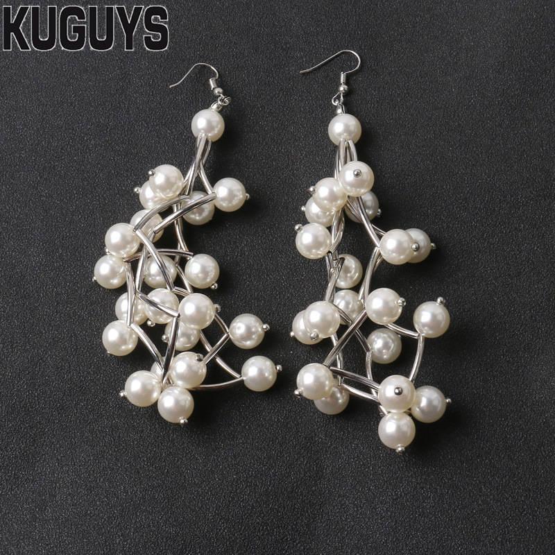 KUGUYS Geometric Pearl Large Earrings for Womens Jewelry Trendy Vintage Hyperbole Long Drop Earring Party Accessories Brincos