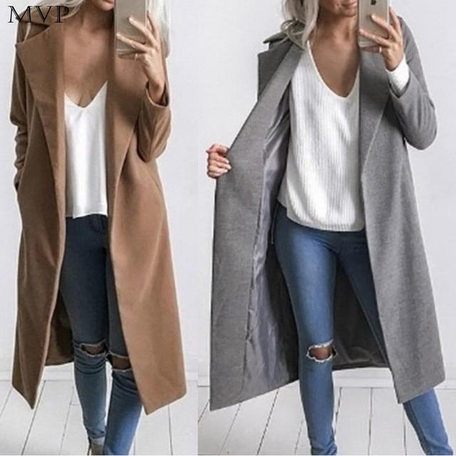 FANALA Women Winter Coat Casual Warm Winter Wool Trench Coat Parka Long Jacket Outwear Female Coats