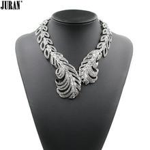 2017 New feather necklaces & pendants fashion luxury choker design bib crystal tassel pendant necklace statement Fashion Jewelry