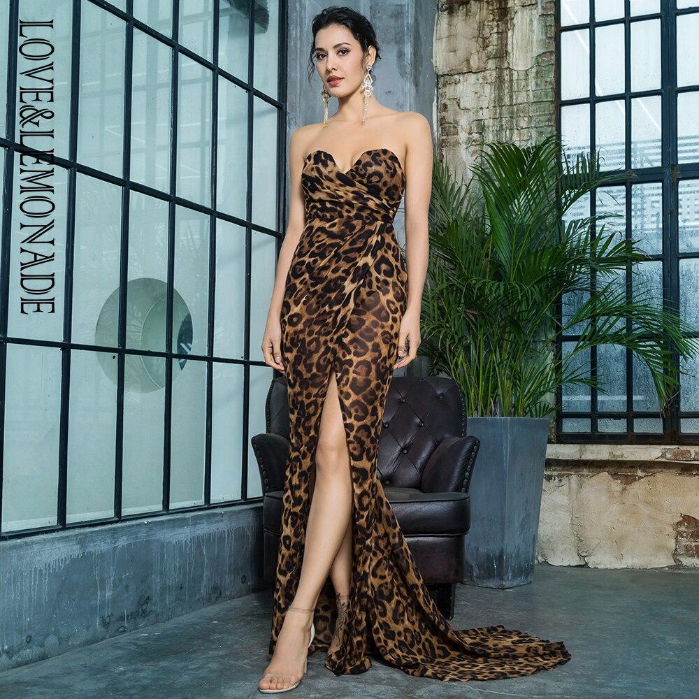 Liebe & Limonade Tiefem V ausschnitt Kreuz Braun Leopard Chiffon Dünne Lange Kleid LM81352Brown-in Kleider aus Damenbekleidung bei  Gruppe 2