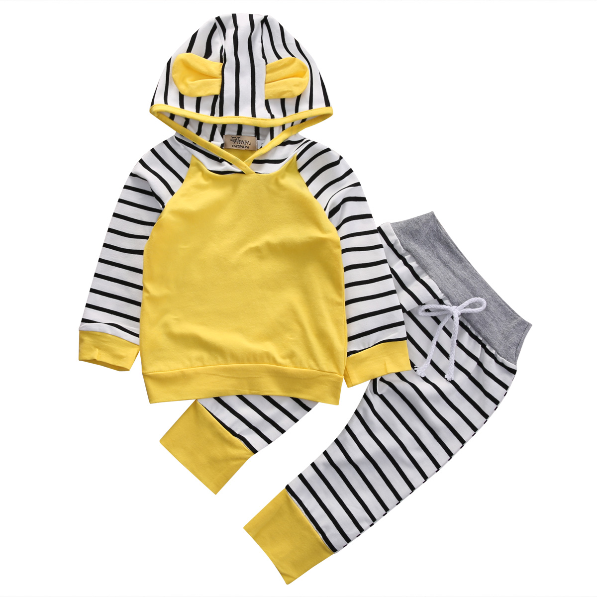 2pcs Baby Boys Girls Sport Autumn Yellow Cotton Long Sleeve Hooded Sweatshirt Top +Long Striped Pants Outfits Clothing Set ralph lauren girls cotton neon sweatshirt pullover top