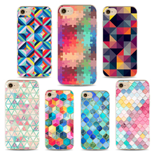 Rhombus Geometry Phone Cases For iphone 6 6s 6Plus 7 7s 7 Cover Rainbow Back Triangle Hard PC Mobile Phone Holder Case Cover