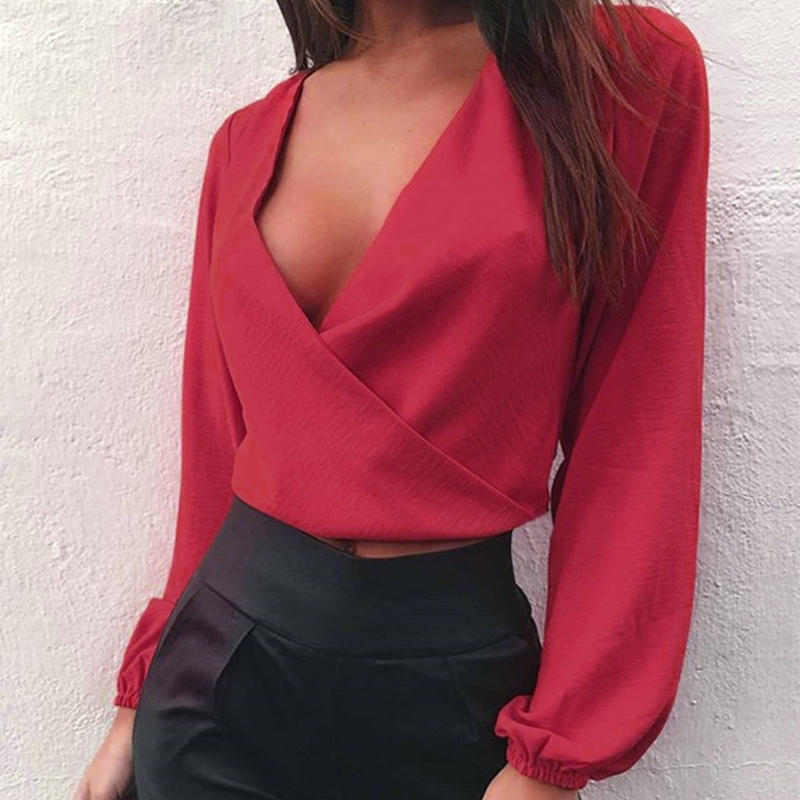 KLV Women Sexy Backless Crop Blouse Shirts Long Full Sleeve Deep V Neck Pullover Club Party Tops Cross Solid Soft Fashion New