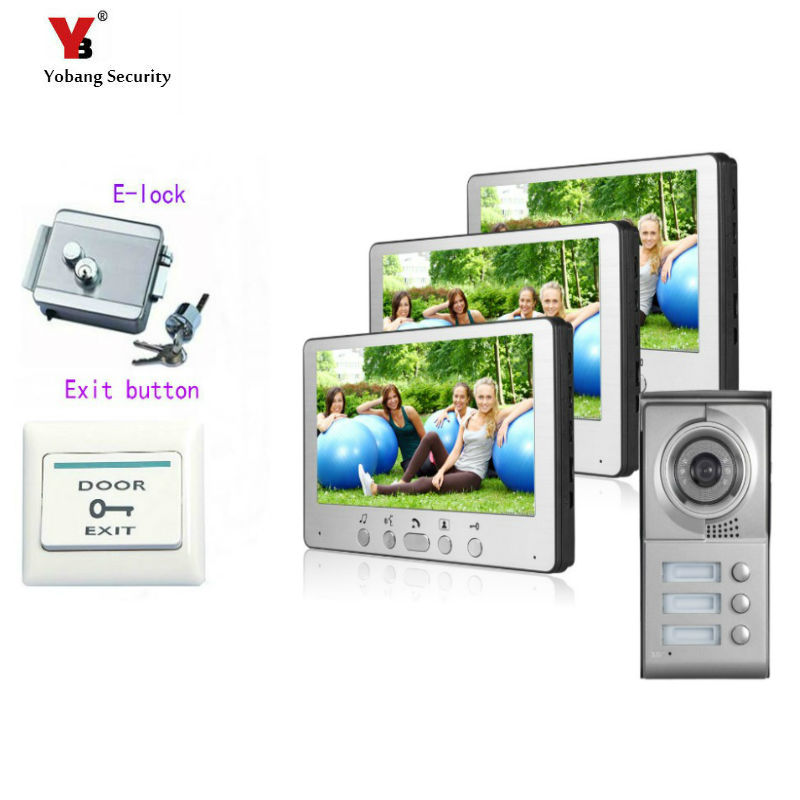 Yobang Security  7Color Video Door Phone For Villa Apartment Intercom System Access Camera For 3 House Monitor+Electronic lock freeship 10 door intercom security system hands free monitor color tft lcd screen intercom system video door phone for villa