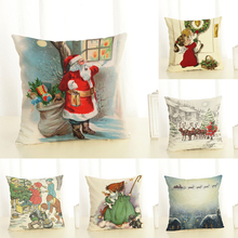 3D Printed Santa Claus Pillowcases Seat Sofa Pillow Cover Linen Cotton Square Merry Christmas Cushion Cover for Party Decoration