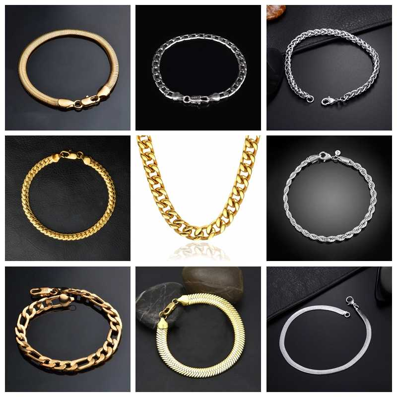 Silver Gold Bracelet for Men Women Jewelry Curb Cuban Link Chain High Quality Bracelets Hand Chain Wholesale 10 Styles