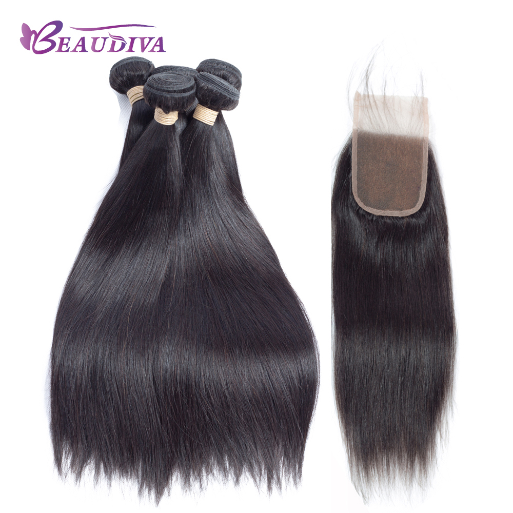 BEAUDIVA Brazilian Straight Hair 4 Bundles with Closure Human Hair Weave Bundles 400g 4x4 Lace Closure Hair Extensions