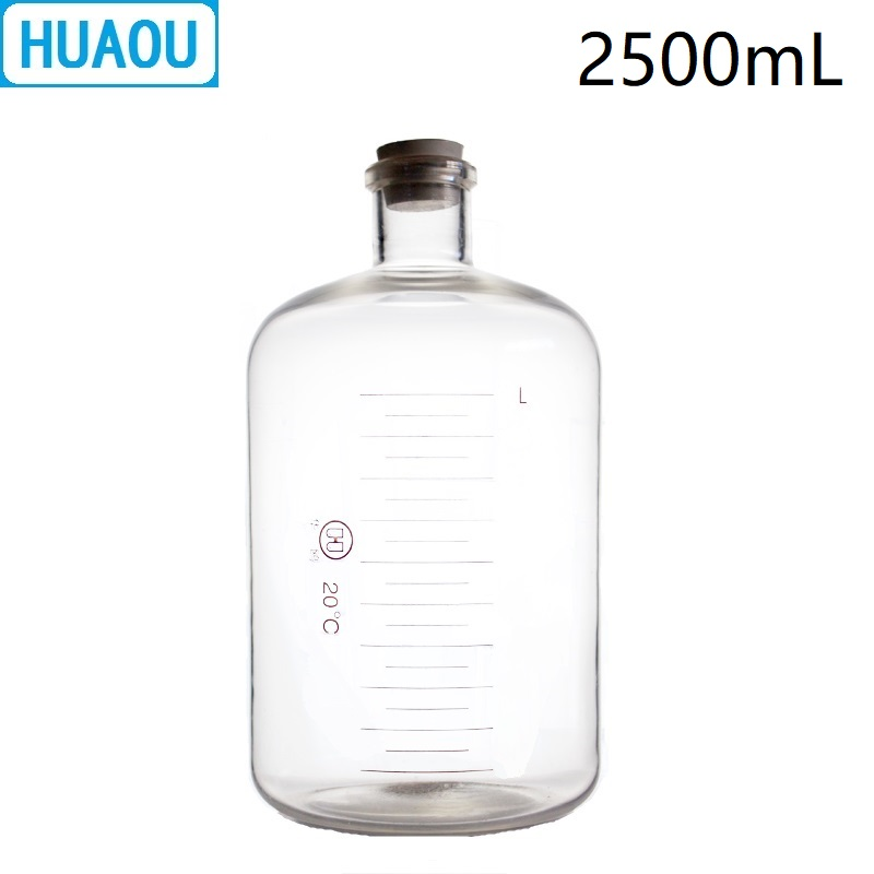 HUAOU 2500mL Glass Serum Bottle 2.5L Narrow Mouth with Graduation and Rubber Stopper Laboratory Chemistry Medical Equipment huaou 500ml gas generator kipps apparatus with safe funnel stopcock rubber stopper laboratory chemistry equipment