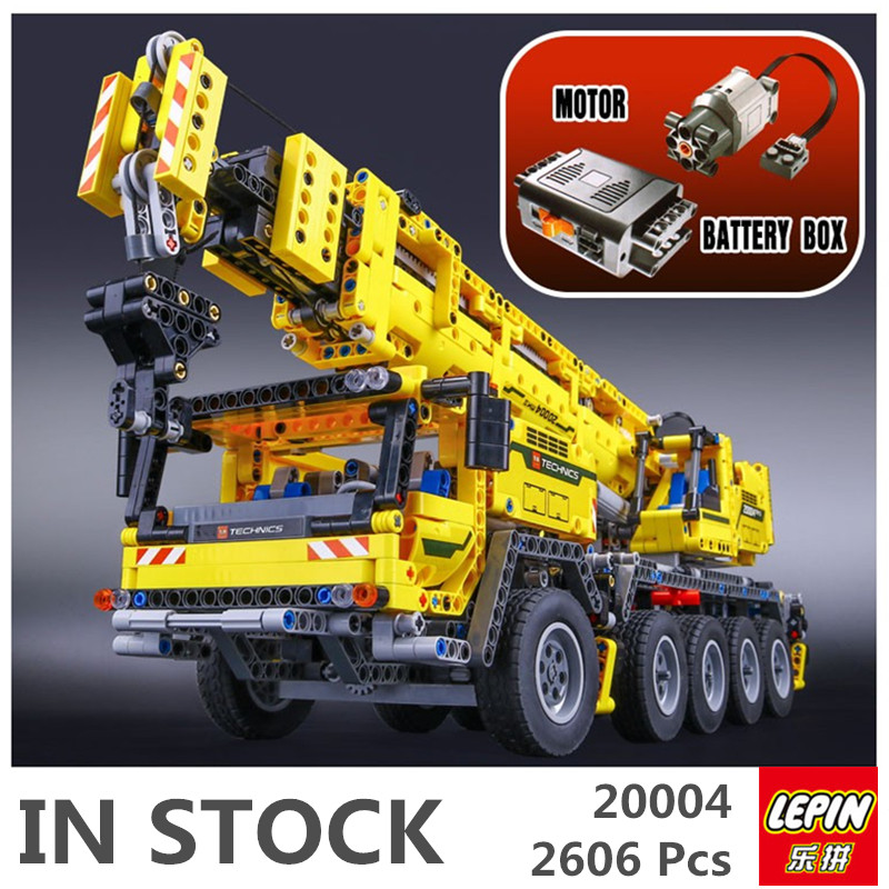 В наличии 2606 шт. Лепин 20004 техника серии мощность двигателя автокран МК модель строительные блоки Кирпич совместимые 42009
