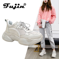 Fujin Sneakers Women Shoes Women Casual Sneakers Female Height Increasing Lace Up Shoes Comfortable for Women flats