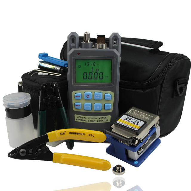 Optical Fiber Tool Kit with FTTH FC-6S Fiber Cleaver and 2 in 1 Optical Fiber Power Meter and Wire Strippers and Dustfree Paper