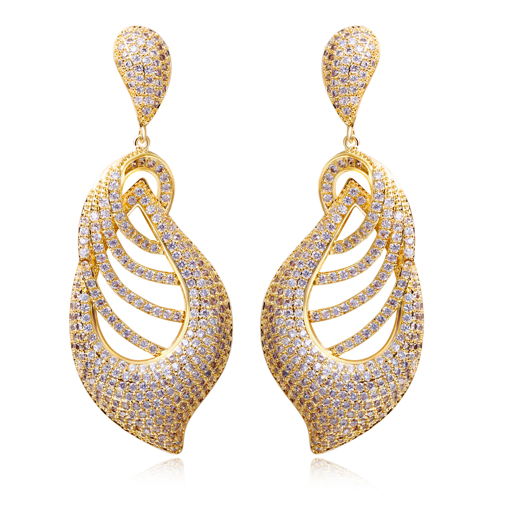Vintage Long Earrings Stunning Tiny CZ Crystal Gold Color Jewelry ...