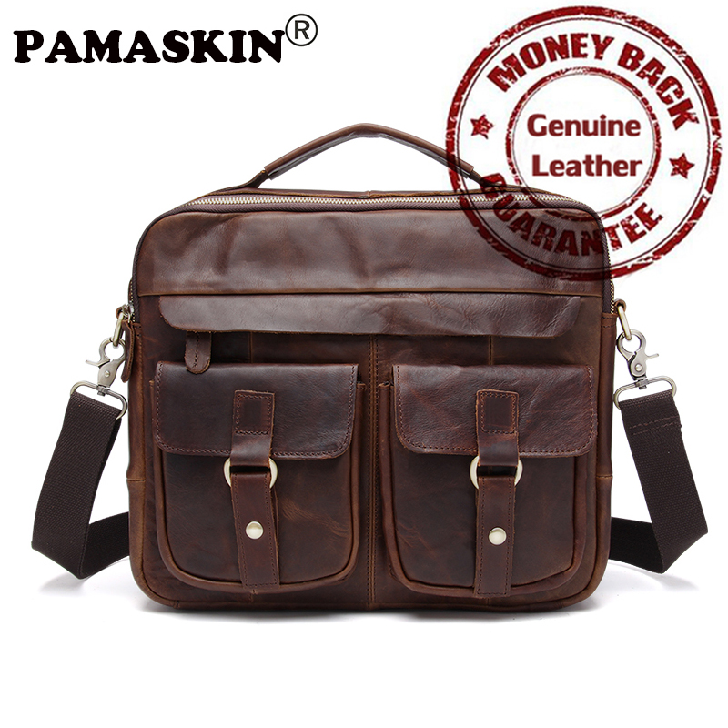PAMASKIN Premium Genuine Crazy Horse Leather Men Handbags 2017 Brand Design Large Capacity Men Cross-body Bag Male Travel Bags blundstone 1320 premium crazy horse gum