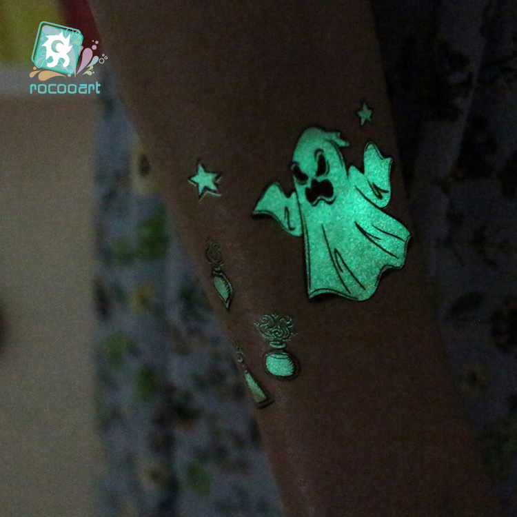 Luminous Horror Body Art Tatoo For Halloween Day Glowing in the dark Paint Temporary Tattoo Stickers 1
