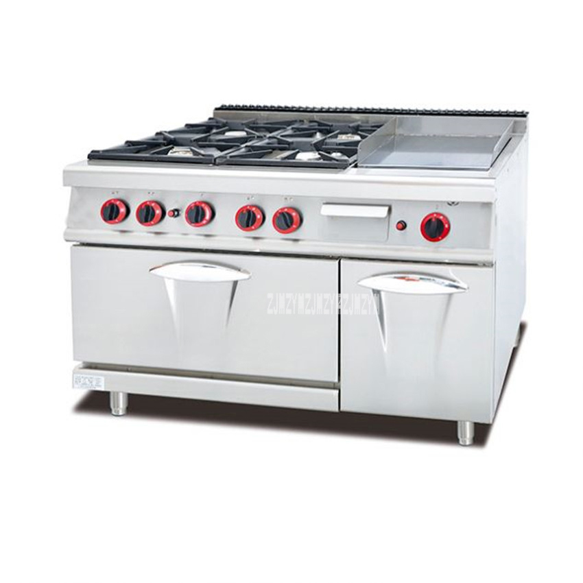GH-996A Commercial Kitchen Equipment Cabinet 4-Burners Gas Cooking Range With Oven And Griddle Industrial Outdoor Stove Cooker gh787a gas range with 4 burner with gas oven of catering equipment
