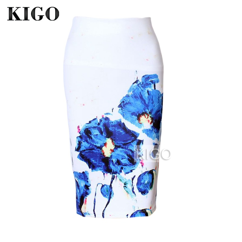 KIGO Womens Pencil Skirts Floral Print Sexy Slim High Waist Women Bodycon Skirt Ladies Vintage Midi