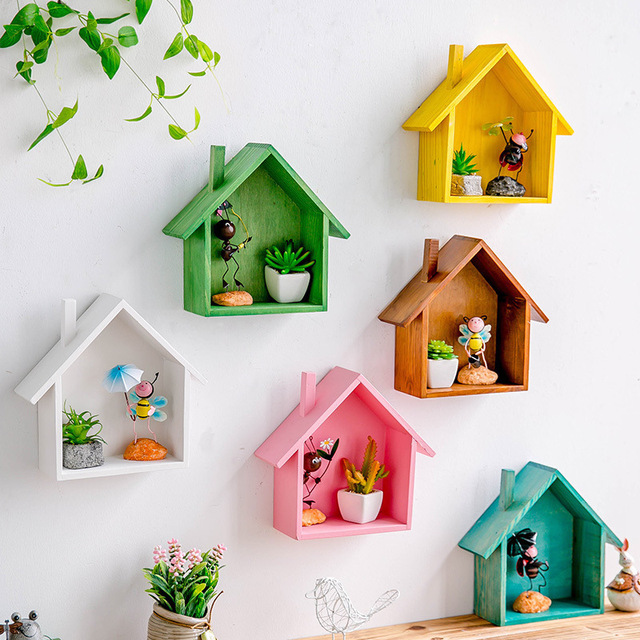 Creative Wooden Wall Decor Retro Village Colored Small House Wall Shelf Hanging Storage Box Wall Decor For Children's Room Gifts