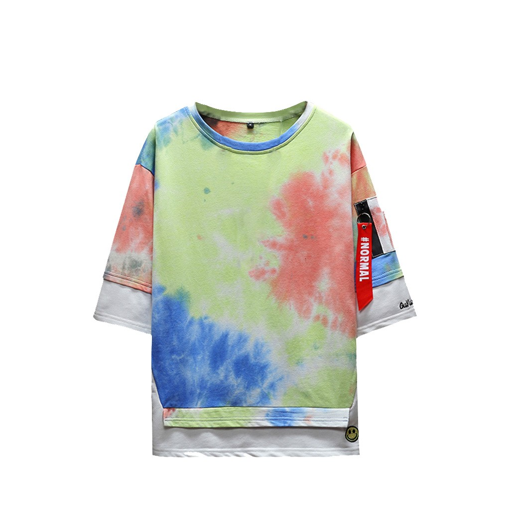 2019 New Hot Men Summer New Style Fashion Printed Tie-Dyed Fake Two Comfortable Top M-5XL Instyle Vetements de mode pour hommes 2