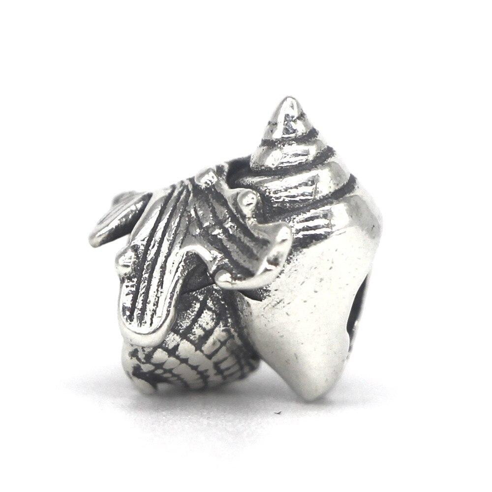 Image 2 - Mistletoe Jewelry Genuine 925 Sterling Silver Love Conch Charm Bead Fit European Troll 3.0mm Bracelet-in Beads from Jewelry & Accessories