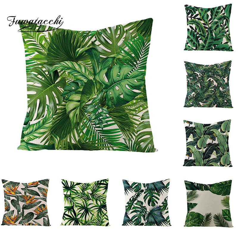 Fuwatacchi Rainforest Palm Leaves Plants Cushion Cover Green Leaves Throw Pillow Cover Forest Views Pillowcase Square 45X45