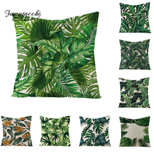 Fuwatacchi Rainforest Palm Leaves Plants Cushion Cover Green Throw Pillow Forest Views Pillowcase Square 45X45