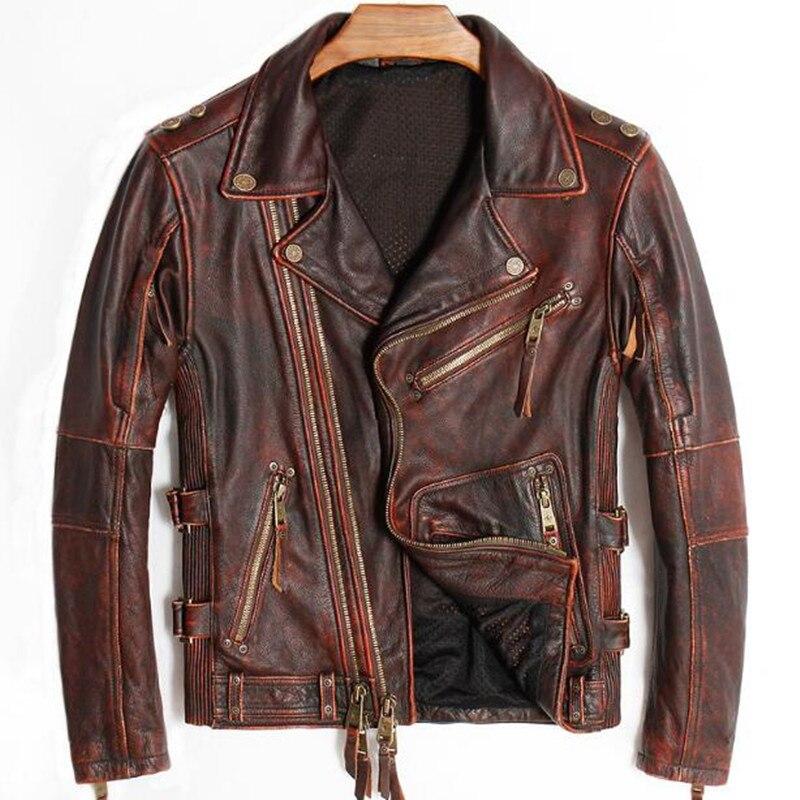 Punk Hommes En Cuir Véritable Vestes Vintage Moto Réel Véritable de Vache Biker Manteau Rétro Hiver Marque Pardessus Rouge Grande Taille 4XL