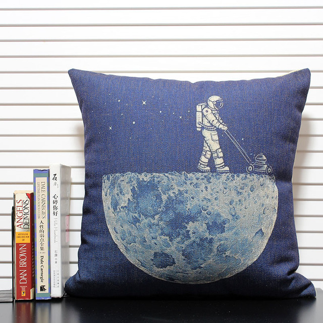 Cleaning The Moon Pillow Covers Cotton Linen 40'' Throw Pillow Custom Cleaning Decorative Pillows
