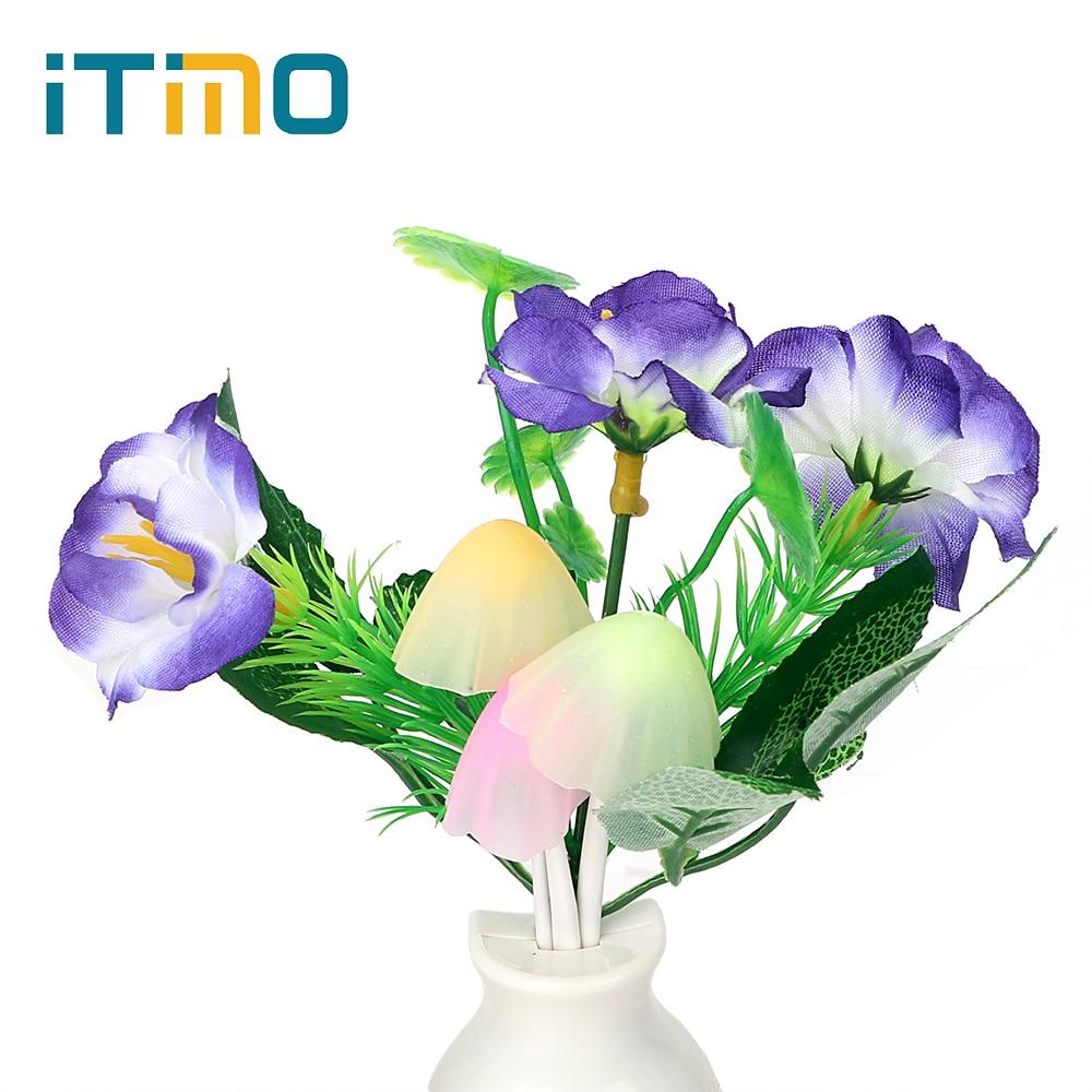 US Plug Luminaria Light Sensor Mushroom Flower Plant Home Bedroom Decoration LED Night Light Lamp Romantic