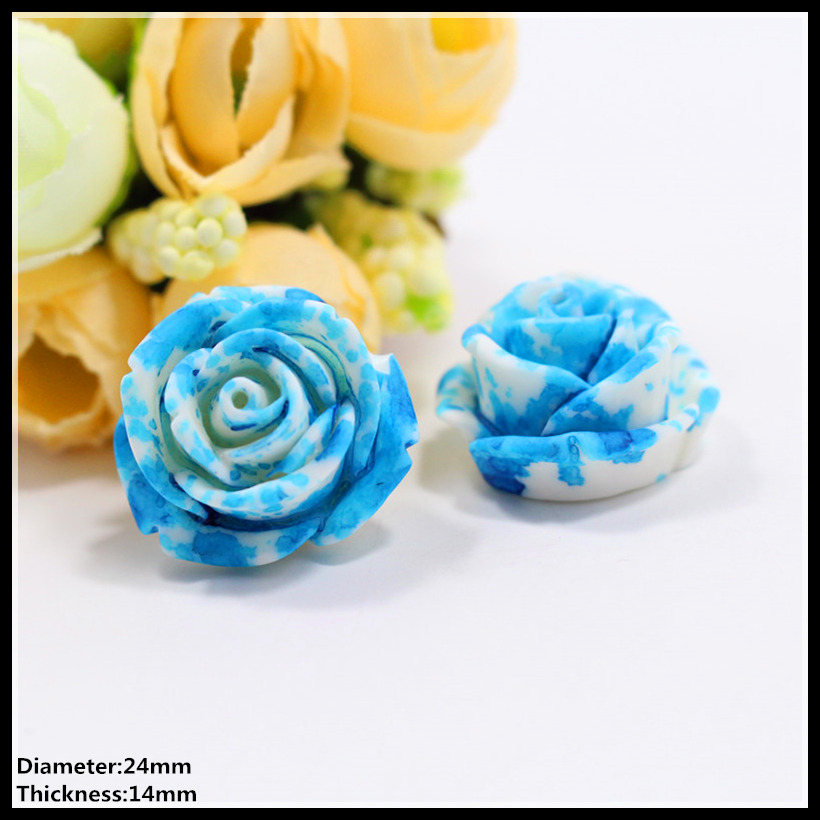 Free shipping 50pcs 24mm fashion blue flowers Flat back resin buttons, garment accessories DIY Hair jewelry accessories,z11