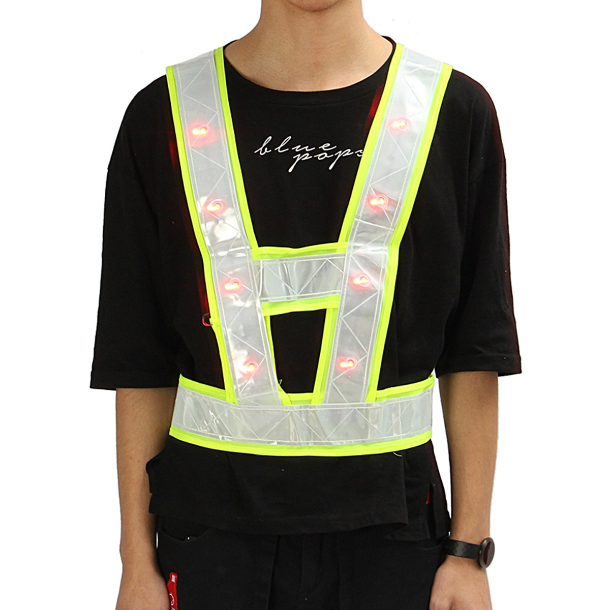 NEW Safurance Cycling Running 16 LED Light Up Reflective Stripes Safety Vest High Visibility Workplace Safety Clothing