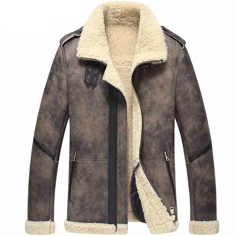 B-Bomber Giacca di Pelle Cappotto di Pelliccia Giacca di Volo degli uomini Shearling Giacca Da Aviatore Giacca Moto Cappotto