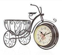 Watches Decoration Art Quartz Creative Clock European Garden Sitting Bike Two Sided Clock Clock Home Furnishing