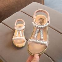 Niemowlę dzieci dziewczynek buty pearl kryształowe pojedyncze księżniczka buty rzymskie sandały piękne księżniczka buty chaussure fille 40ja08 w Sandały od Matka i dzieci na