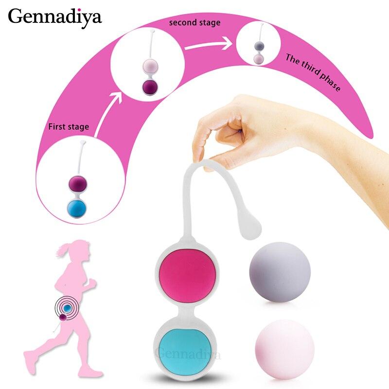 4 pièce/ensemble 100% rétractable vagin serré Kegel exercice balle Silicone poids balles vaginales pour les femmes Kegel balles perle massage du corps