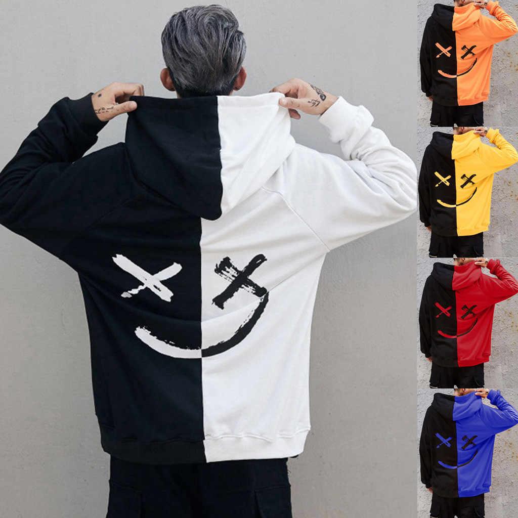 Streetwear נים Harajuku יוניסקס ארוך שרוול בני נוער פרצוף מחייך אופנה הדפסת הסווטשרט סווטשירט Moletom Masculino