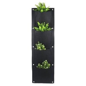 Image 1 - 4 And 7 Pocket Felt Vertical Gardening Flower Pots Planter Hanging Pots Planter On Wall Garden Green Field decorative