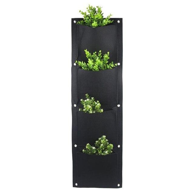 4 i 7 Pocket filcowe pionowe ogrodnictwo kwiat pojemnik na sadzonki wiszące doniczki pojemnik na sadzonki na ścianie ogród zielone pole dekoracyjne