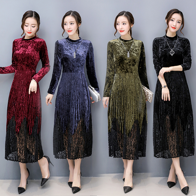 2019 Autumn Long Sleeve Velvet Dress Women Lace Patchwork Empire Pleated Dresses Elegant Office Work Plus Size Maxi Velour Dress
