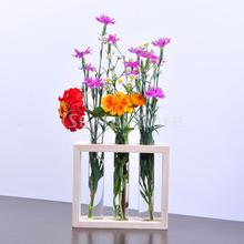 Hanging Flower Vase Bottle in Wood Stand Terrarium Home Party Wedding Decor