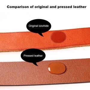 Image 2 - Medyla Fashion Vintage Originele Koeienhuid Mannen Echt Lederen Riem Legering Pin Gesp Jeans Zwarte Riem Voor Mannen MD535 Dropship