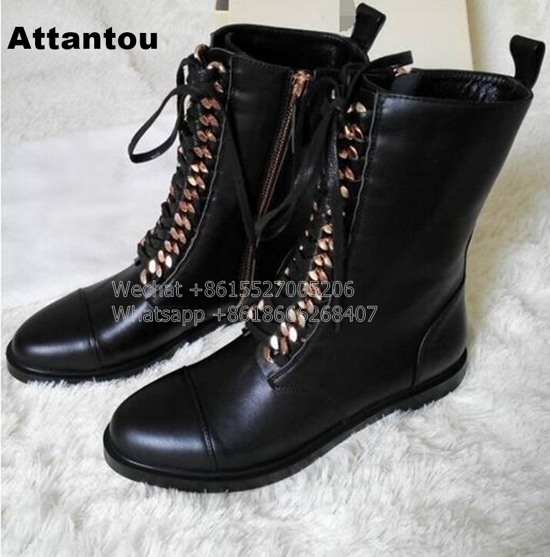 New Fashion Black PU Leather Lace Up Martin Boot Woman Round Toe Riding Boots Designer Chain Motorcycle short Booty new fashion black pu leather lace up martin boot woman round toe riding boots designer chain motorcycle short booty