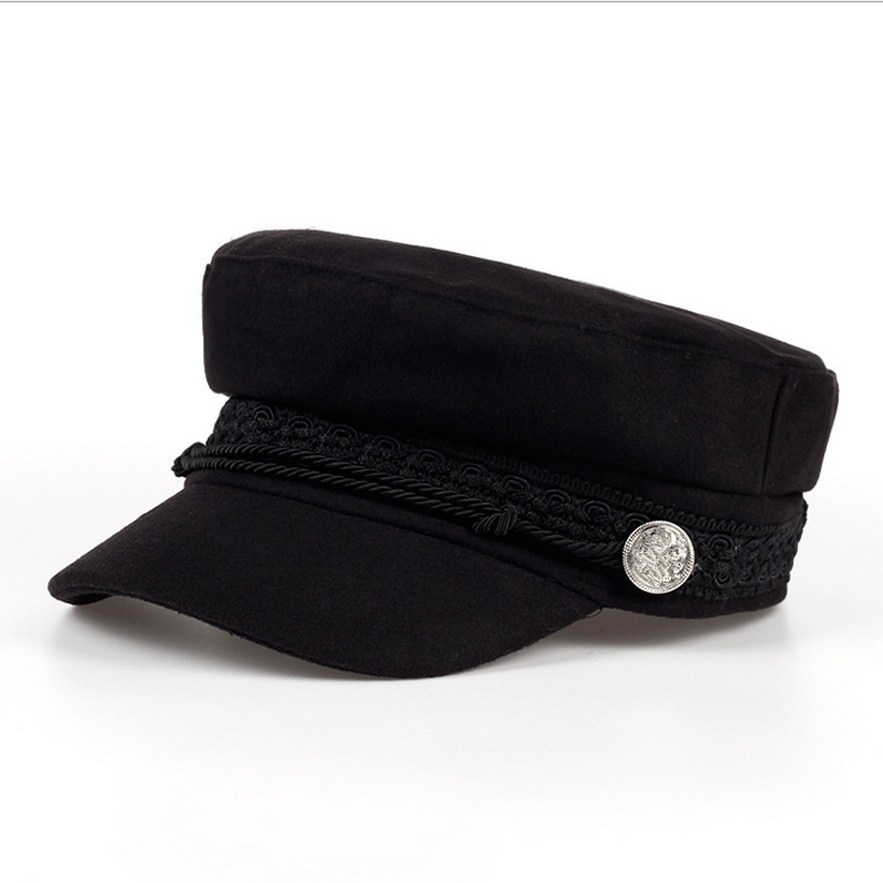 2018 Fashion Solid Visor Military Hat Autumn and Winter Vintage wool Patchwork Beret Cap For Women England Style Flat Cap