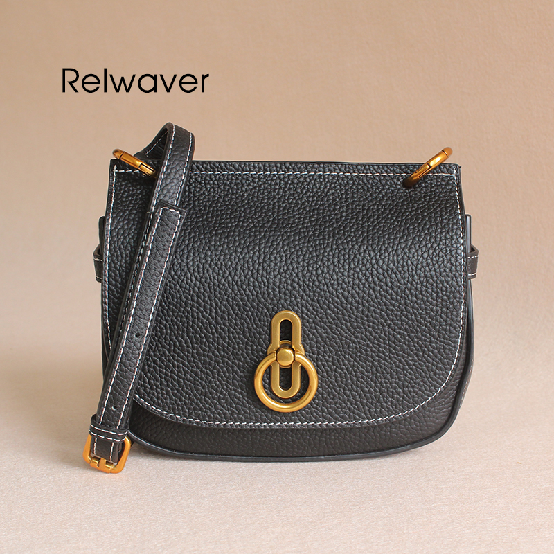 Relwaver genuine leather crossbody bags for women black saddle bag small women's shoulder bag fashion lock women messenger bags hahmes 100% genuine leather women saddle bags women fashion shoulder bag female vintage design small shoulder bag 23cm 10849