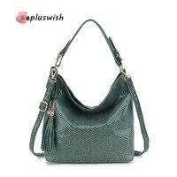 Fashion Soft Leather Handbag Women Tassel Shoulder Bag Female Small Tote Bag Gold Python Pattern Large