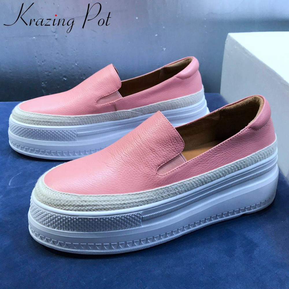Krazing Pot high quality genuine leather thick high bottom round toe loafers platform woman band leisure