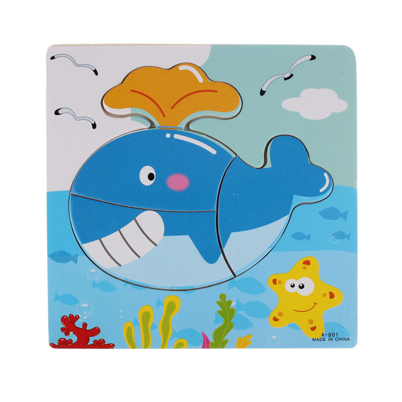 Cute Whale Wooden Jigsaw Educational Developmental Baby Kids Training Brain  Amusing Puzzle Toy High Quality - us333 cb88bb77a49e0