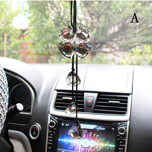 new auto car mirror pendant car interior crystal jewelry decor hanging ornament four leaf clover. Black Bedroom Furniture Sets. Home Design Ideas