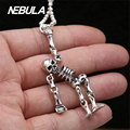 100% Real 925 Sterling Silver Vintage Skeleton Pendant Necklace Jewelry For Men Or Wonmen Punk Thai Silver Without Chain