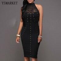 Rivet Mesh Pencil Midi Dress Black Sexy Women Cold Shoulder Party Dress Club Wear Slim Bodycon